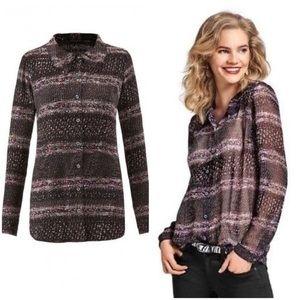 Cabi Black Paris Sheer Button Up Blouse #3249 S